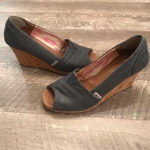 Toms Womens Wedges 8.5  Open Toe High Heels Denim